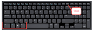 Picture of Keyboard with described buttons highlighted