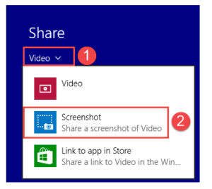 Screenshot of Share Charm on Windows 8.1 only