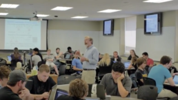 Professor Mark Andersland oversees group work